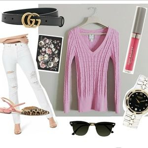 ❤ { POOF EXCELLENCE }   Pink V-Neck Sweater